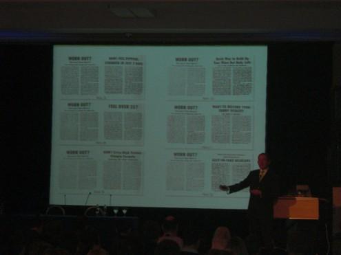 הרצאה מעולה בנושא Testing, בתמונה המרצה מראה איך עיתונים היו עושים טסטינג לפני 100 שנה.